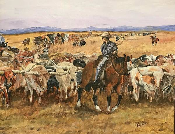 Longhorn Painting - Long Horn Cattle Drive by Patsy Renz