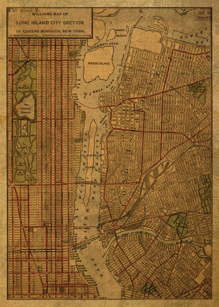 Island Mixed Media - Long Island Section Queens New York Vintage City Street Map 1911 by Design Turnpike