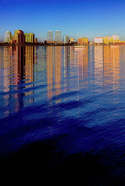 Photograph - Long Reflections Of Downtown West Palm Beach Abstract Painting by Debra and Dave Vanderlaan