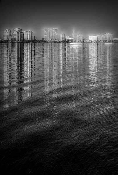 Photograph - Long Reflections Of Downtown West Palm Beach In Radiant Black An by Debra and Dave Vanderlaan