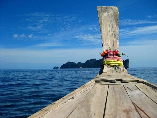 Phi Photograph - Long-tail Thai Boat Cruising To Ko Phi by Thomas Janisch