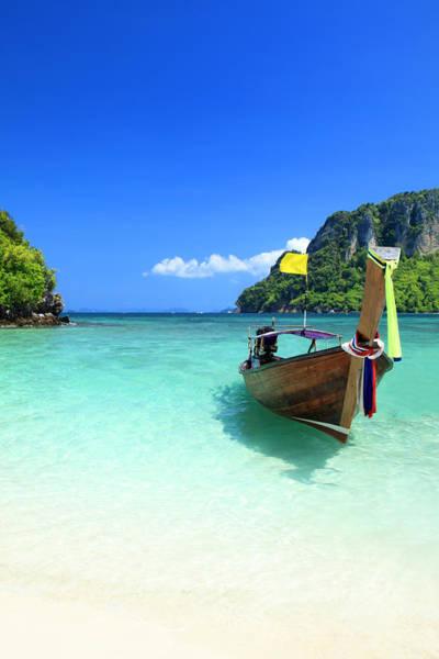 Phi Photograph - Long Tail Wooden Boat At Krabi Island by Vuk8691