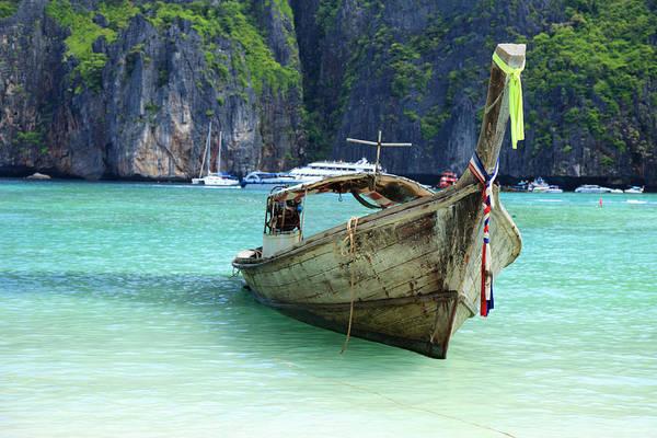 Phi Photograph - Long Tail Wooden Boat by Vuk8691