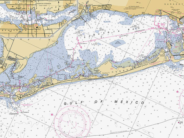 Digital Art - Longboat Ket Florida Noaa Nautical Chart by Paul and Janice Russell