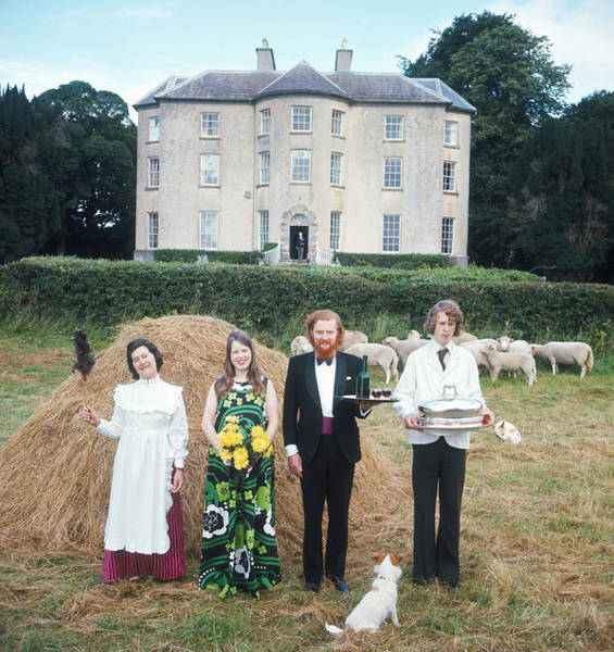 Dress Photograph - Longfield House And Staff by Slim Aarons