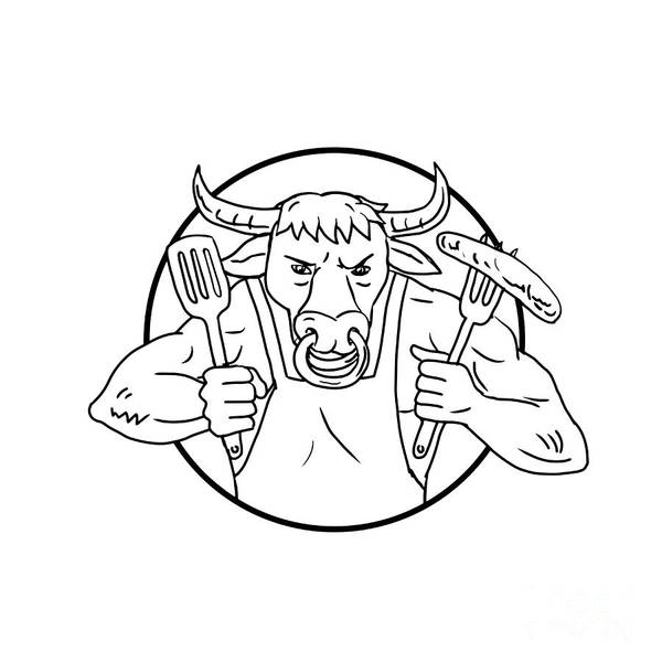 Wall Art - Digital Art - Longhorn Bull Holding Barbecue Sausage Drawing Black And White by Aloysius Patrimonio