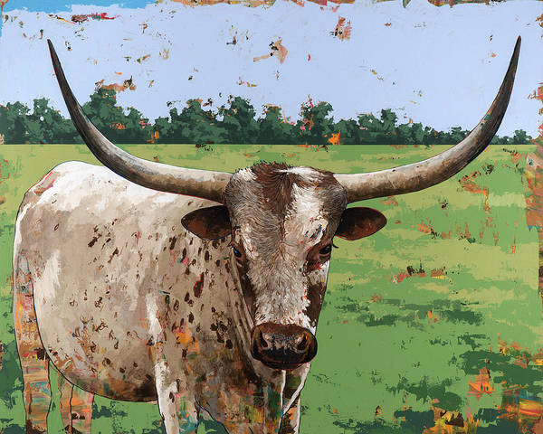Longhorns Wall Art - Painting - Longhorns #1 by David Palmer
