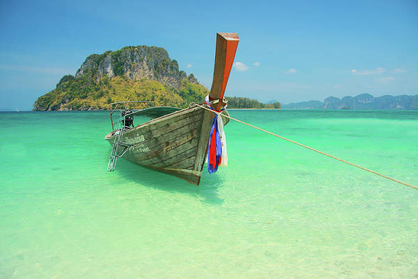 Wall Art - Photograph - Longtail Boat And Island Outcrop At Tup by Peter Unger