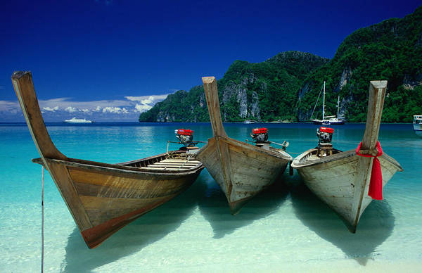 Longtail Boats At Ao Lo Dalam,ko Art Print
