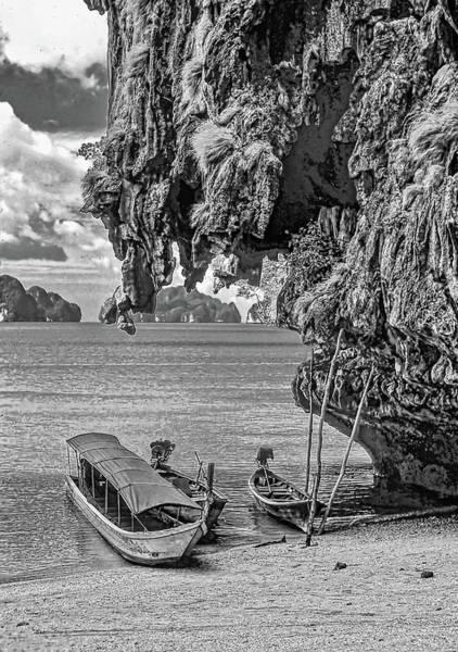 Wall Art - Photograph - Longtail Boats - Phang Nga Bay - Thailand Bw by Steve Harrington