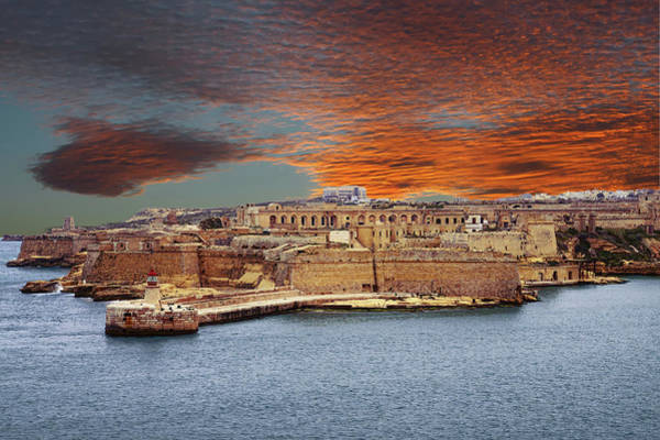 Looking Across Harbor From Fort St Elmo To  Fort Rikasoli Art Print