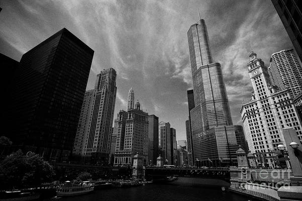 Wall Art - Photograph - Looking Along The Chicago River Towards The Michigan Avenue Dusable Bridge And Trump Tower Downtown  by Joe Fox