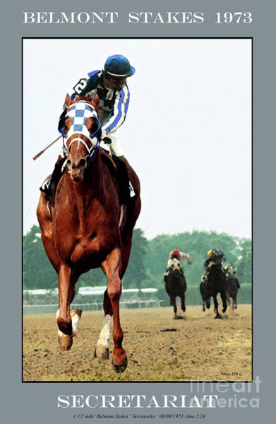 Kentucky Derby Wall Art - Painting -  Looking Back, 1 1/2 Mile Belmont Stakes Secretariat 06/09/73 Time 2 24 - Painting by Thomas Pollart