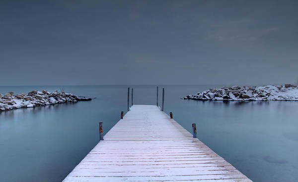 Canada Photograph - Looking Down A Dock On A Wintery Day by Photographed By Dan Cronin-toronto Canada