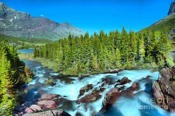 Wall Art - Photograph - Looking Down Glacier Red Rock Falls by Adam Jewell