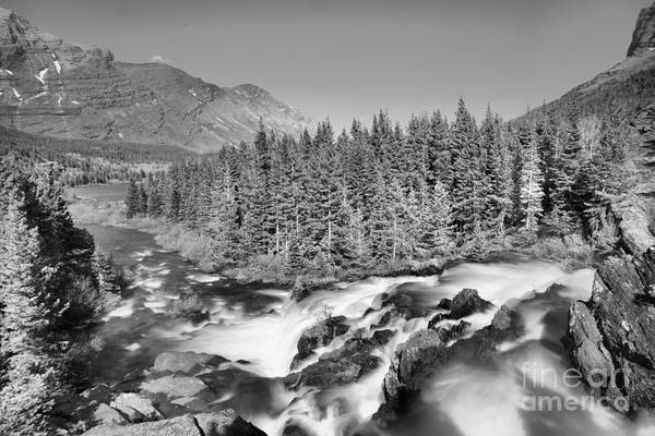 Wall Art - Photograph - Looking Down Glacier Red Rock Falls Black And White by Adam Jewell