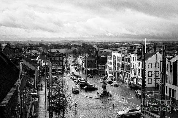 Wall Art - Photograph - Looking Down Over Dungannon Market Square And Surrounding Countryside On A Wet Day Dungannon County  by Joe Fox