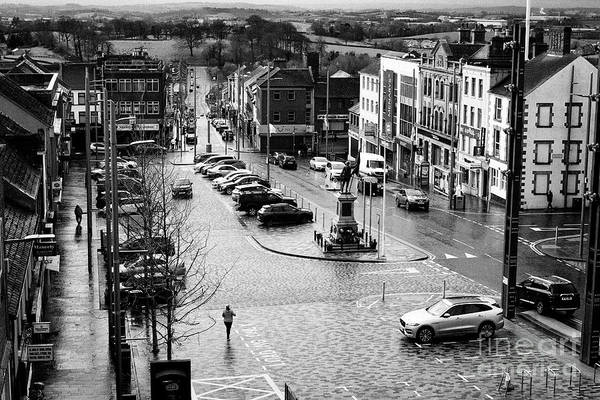 Wall Art - Photograph - Looking Down Over Dungannon Market Square On A Wet Day Dungannon County Tyrone Northern Ireland Uk by Joe Fox