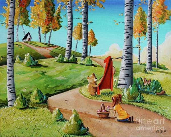 Wall Art - Painting - Looking For Little Red Riding Hood by Cindy Thornton