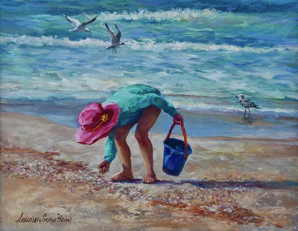 Wall Art - Painting - Looking For Shells by Laurie Snow Hein