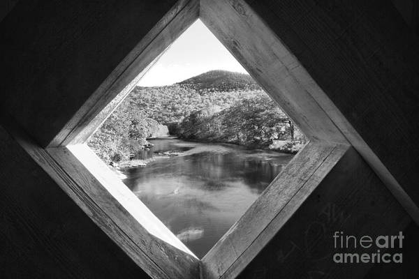 Photograph - Looking Out Of The Scott Covered Bridge Black And White by Adam Jewell