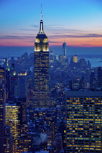 Photograph - Looking Over Manhattan At Nightfall by Mark Hunter