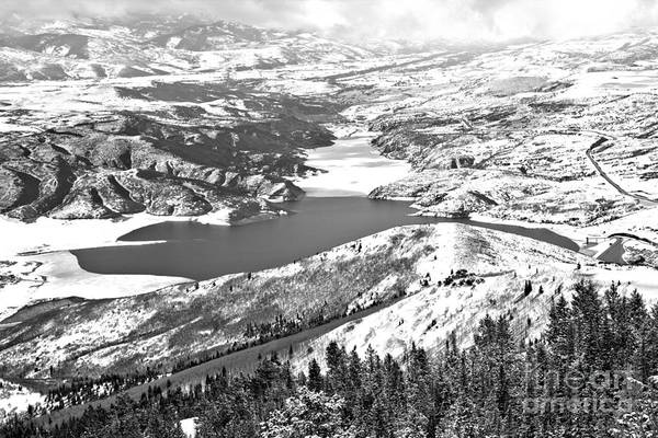 Photograph - Looking Over The Jordanelle Reservoir Black And White by Adam Jewell