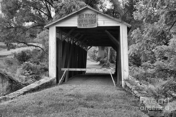 Photograph - Looking Through The Red Covered Bridge Black And White by Adam Jewell