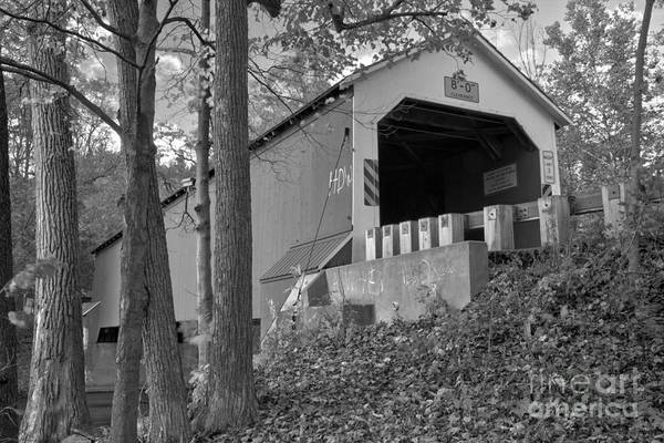 Photograph - Looking Up At The Eagleville Covered Bridge Black And White by Adam Jewell