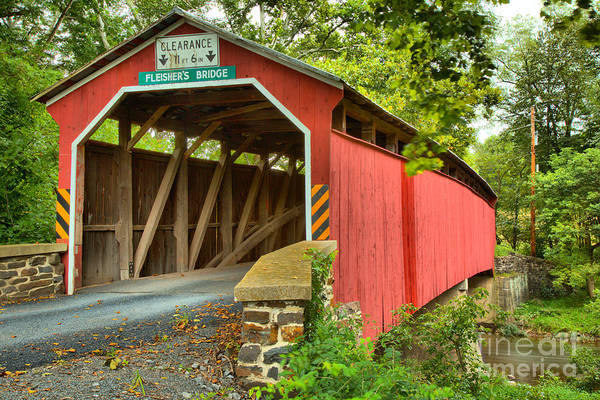 Photograph - Looking Up At The Fleisher Covered Bridge by Adam Jewell