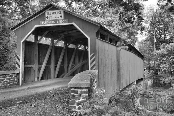 Photograph - Looking Up At The Fleisher Covered Bridge Black And White by Adam Jewell