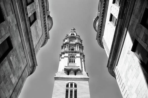 Photograph - Looking Up - City Hall Court Yard In Black And White by Bill Cannon