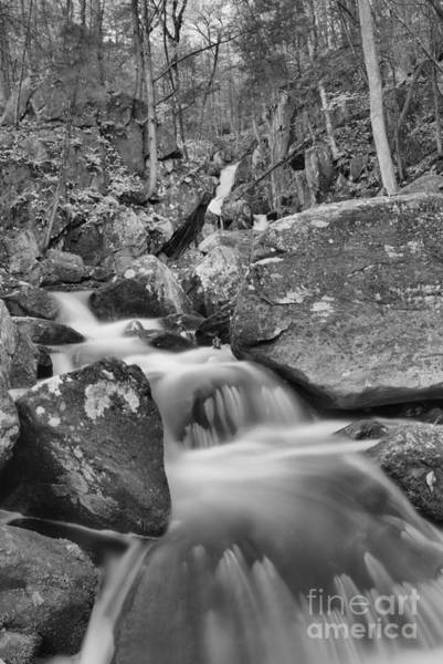 Photograph - Looking Up Goldmine Brook Falls Canyon Black And White by Adam Jewell