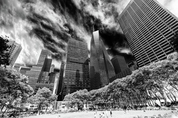 Wall Art - Photograph - Looking Up In Bryant Park New York City by John Rizzuto