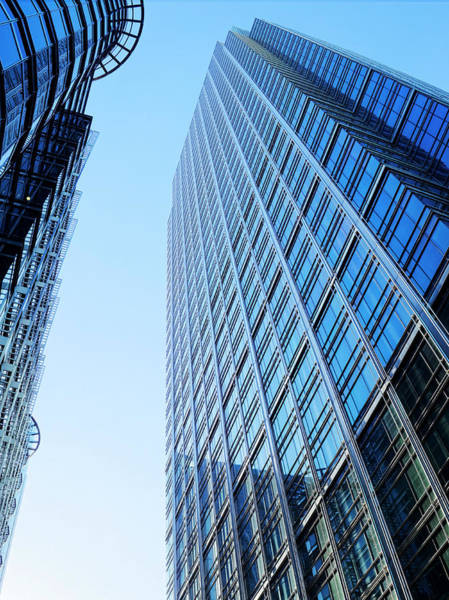 Canary Wharf Photograph - Looking Up Modern Office Block by Doug Armand