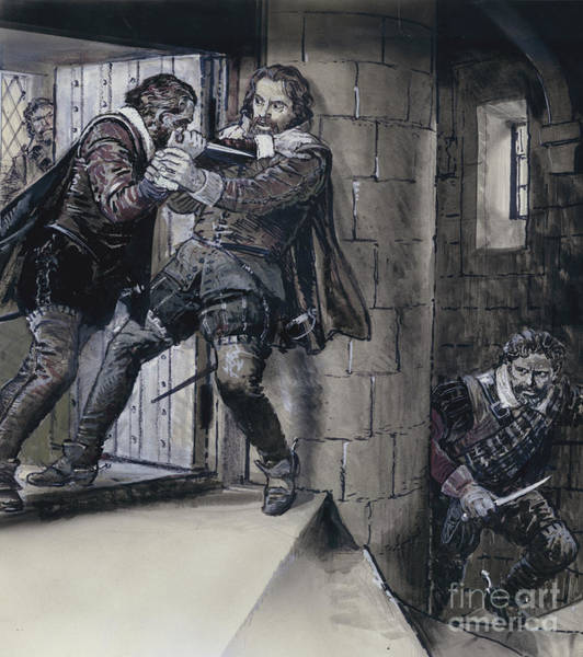 Wall Art - Painting - Lord Gowrie Drawing A Dagger On King James Vi Of Scotland by CL Doughty