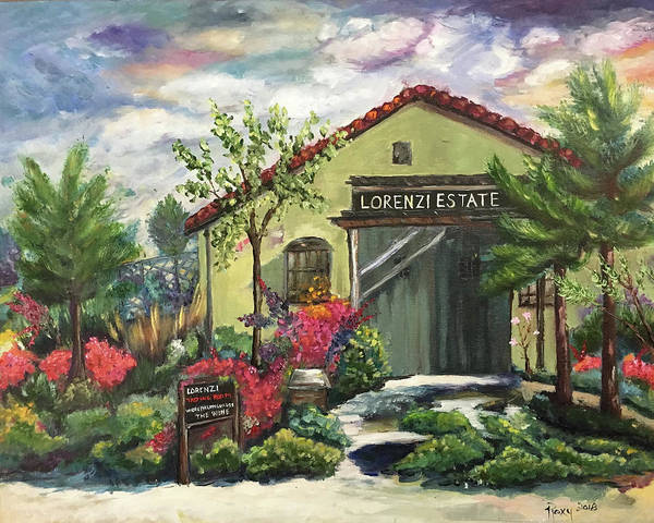 Landscape Painting - Lorenzi Estates Winery by Roxy Rich