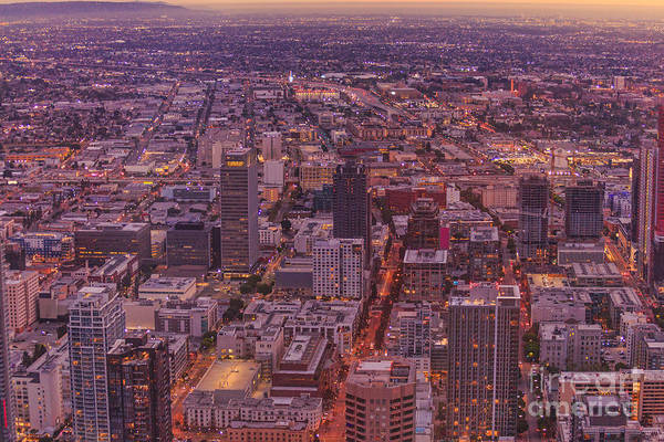 Photograph - Los Angeles Aerial Sunset by Benny Marty
