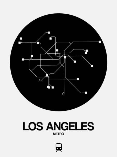 California Digital Art - Los Angeles Black Subway Map by Naxart Studio
