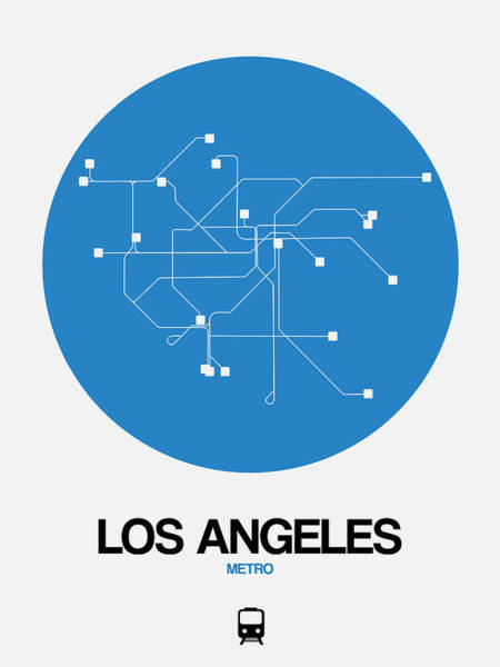 Unique Wall Art - Digital Art - Los Angeles Blue Subway Map by Naxart Studio