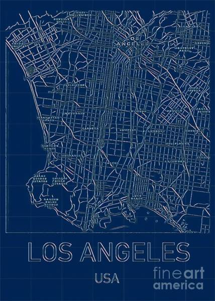 Digital Art - Los Angeles Blueprint City Map by Helge