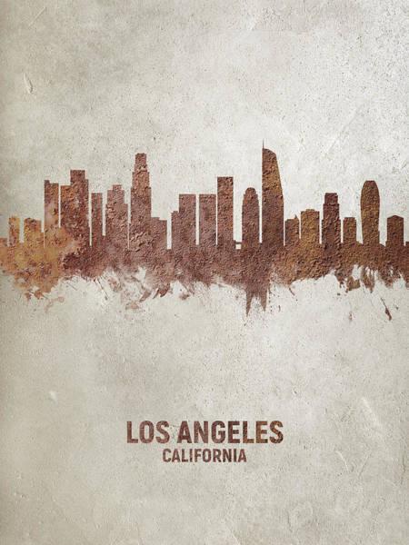 California Digital Art - Los Angeles California Rust Skyline by Michael Tompsett