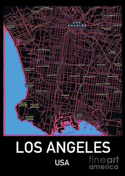 Digital Art - Los Angeles City Map by Helge