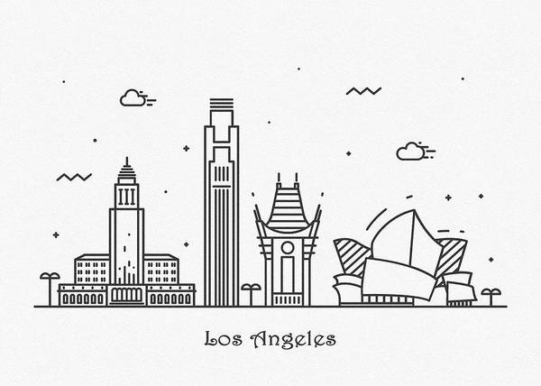 Wall Art - Drawing - Los Angeles Cityscape Travel Poster by Inspirowl Design