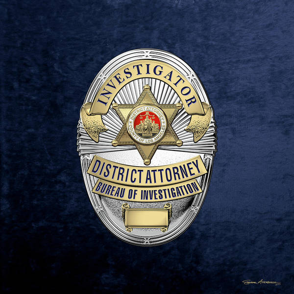Digital Art - Los Angeles County District Attorney - Investigator Badge Over Blue Velvet by Serge Averbukh