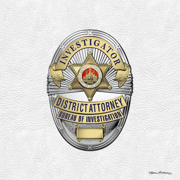 Digital Art - Los Angeles County District Attorney - Investigator Badge Over White Leather by Serge Averbukh