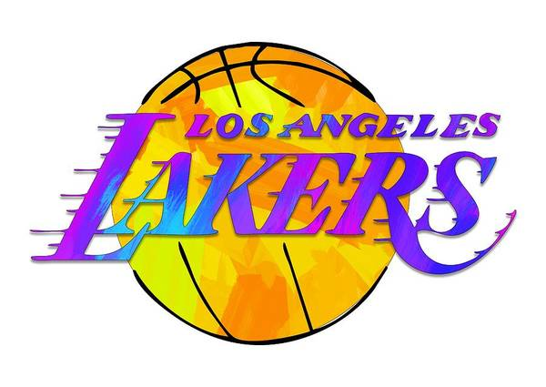 Wall Art - Digital Art - Los Angeles Lakers Paint Design by Ricky Barnard