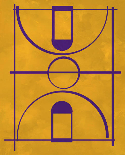 Wall Art - Mixed Media - Los Angeles Lakers Pop Creation Basketball Court Art by Joe Hamilton