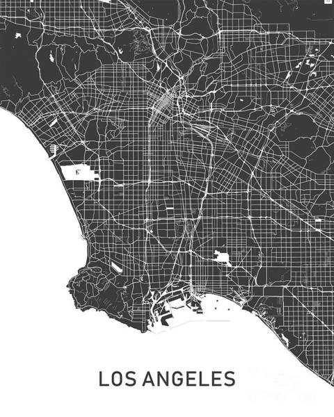 Wall Art - Photograph - Los Angeles Map Black And White by Delphimages Photo Creations