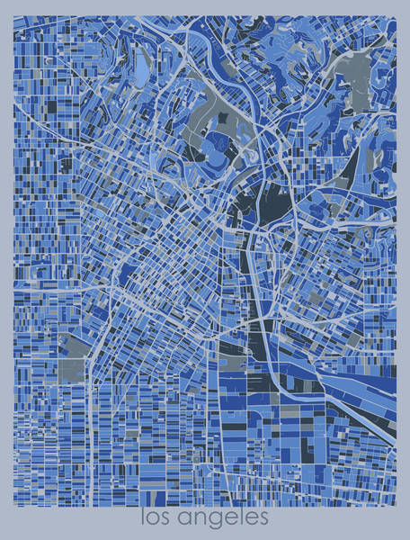 Wall Art - Digital Art - Los Angeles Map Retro 5 by Bekim M